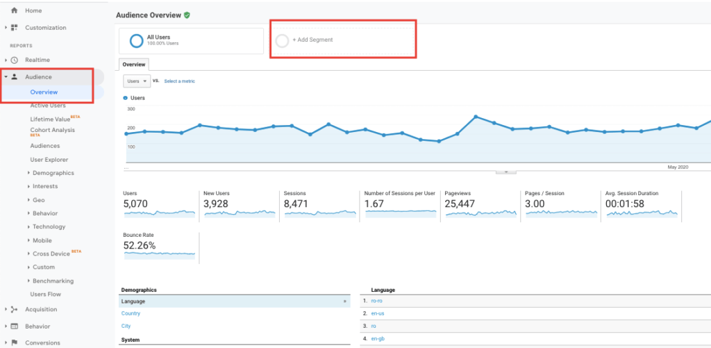 Segmentează audiența în Google Analytics 2