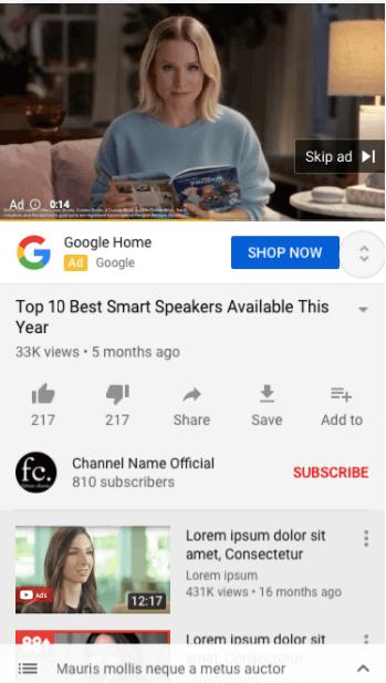 Youtube Ads cu sitelinks 5